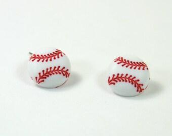 Baseball earrings, Baseball studs, Baseball mom earrings, sports earrings, Gift for baseball mom, ball earrings