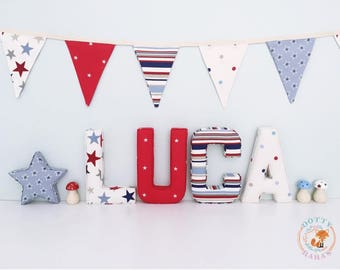 Fabric Letters, Handmade Fabric Letters, Wall Art, Nursery, Childrens Bedroom, Boys, Girls Personalised fabric letters