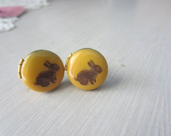 Bunny earrings, rabbit earrings, bunny studs, stud earrings, locket earrings