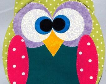 Horned Owl Mug Rug - Sage and Rose Pink