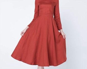 Linen dress, long linen dress, long sleeves dress, midi dress, spring dress, womens dresses, classic dress, evening dress, red dres 1719