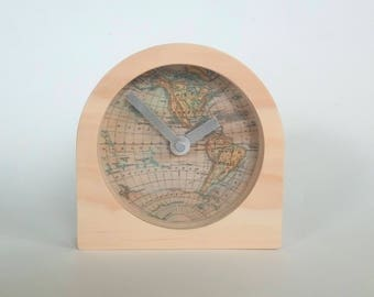 Objectify Vintage Map Print Desk Clock - Small