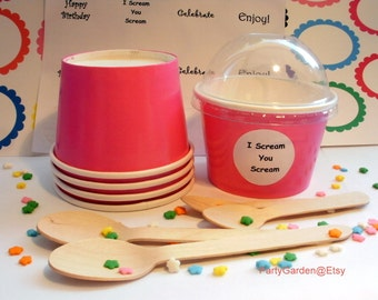 12 Hot Pink Ice Cream Cups - Small 8 oz