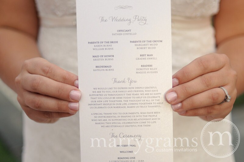 Elegant wedding programs single sided flat programs fast zoom pronofoot35fo Image collections