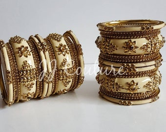 Designer Bollywood Beige Bangles Gold Bangles Cream Bangles Indian Jewelry Jewellery Kundan Jewelry Indian Bridal Bangles