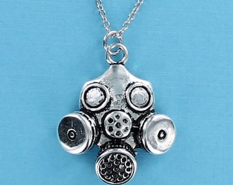 GAS MASK Necklace - Pewter Charm on a FREE Plated Necklace Chain