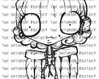 INSTANT DOWNLOAD Whimsical Angel Girl Digital Stamp Image