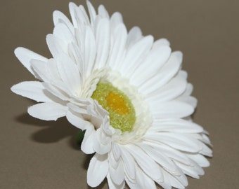 White Gerbera Daisy - Artificial Flowers, Silk Flower Heads - PRE-ORDER