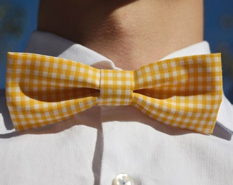 Yellow&white square pattern bowtie - Adjustable - Unisex