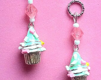 Hearing Aid Charms: 3D Deluxe Sprinkled Cupcakes with Glass Accent Beads!
