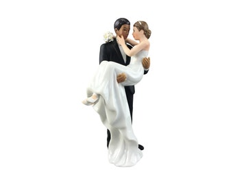 African American Groom Holding Caucasian Bride Interracial Cake Topper Figurine - Custom Painted Hair Color Available - 707562