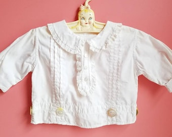 Vintage Fancy White Dress Shirt Top * Victorian * Edwardian * Baby Toddler * Cotton * Size 2