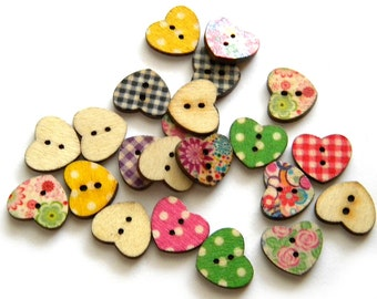 10 Wooden Painted Heart Buttons