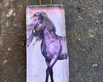 Horse Glass Tile Pendant   Dark Dapple Grey Beauty   Gift for Horse Lover  Domino size Glass Cabachon