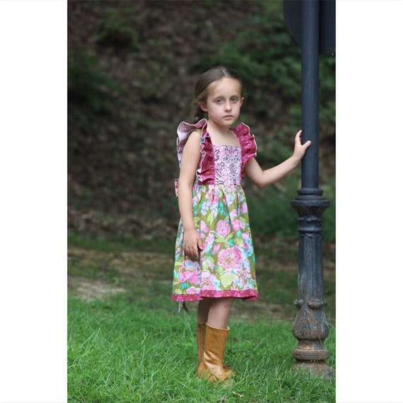 Girls Fall Florals Pinafore Dress - Back to School Dress -