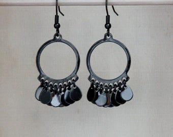 Gunmetal Gray Circle Earrings, Dark Gray Earrings, Gunmetal Gray Earrings