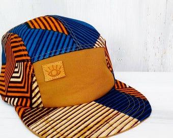 Blue, orange, and brown African Batik, Handmade 5 Panel Camp Hat, Baseball Hat