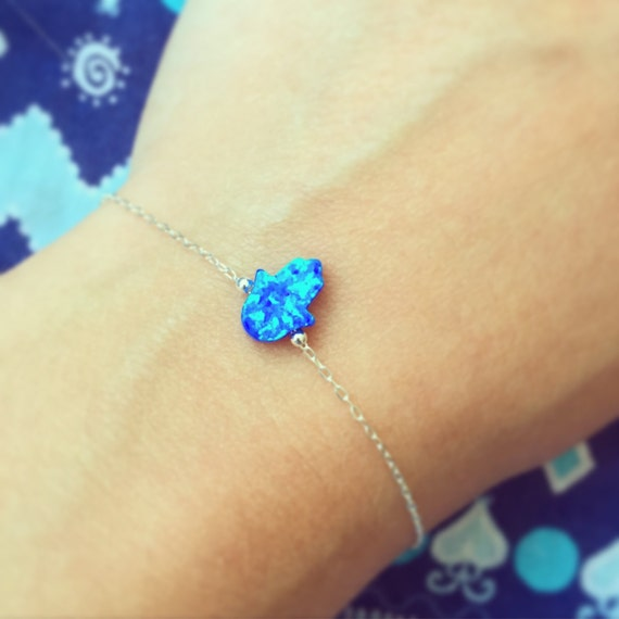 925 Sterling Silver bracelet with Mini Lab Opal Hamsa and tiny silver beads