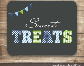 Boy's Birthday Sweet Table Sign / Coordinating 1st Birthday Candy Table Sign / Gray, Blue & Green Candy Buffet Sign -  Printable