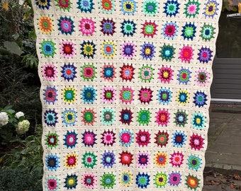 Crochet blanket, colorful/off white crochet blanket, crochet granny square blanket, babyblanket