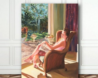 Original Oil Painting, FEW MINUTES' PEACE, portrait, reading figure, brown and pink
