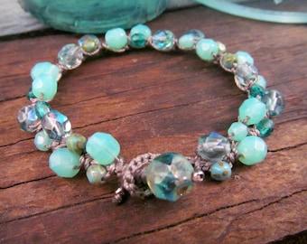 Boho Crocheted Bracelet, Shades of Blue Bracelet, Crochet Boho Bohemian Jewelry by GlowCreek