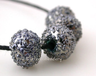 4 DISCO BALLS Silver Luster Sugar - Handmade Lampwork Glass Bead Set - TANERES sra - metallic iris - 12 mm