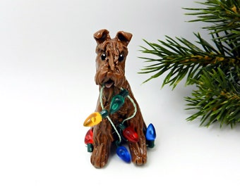 Irish Terrier Porcelain Christmas Ornament Figurine with Lights OOAK