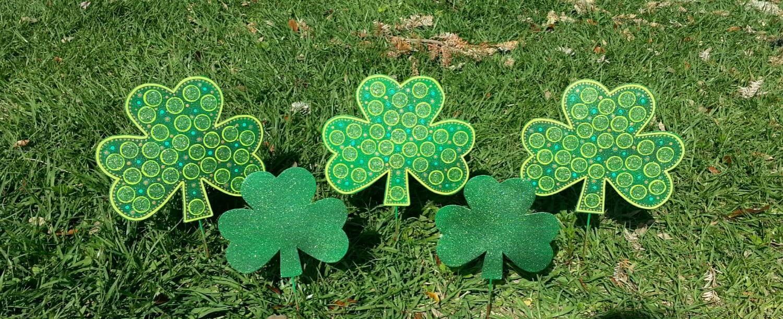 Set of 5 St. Patricks Day Decoration Shamrock Garden Decor