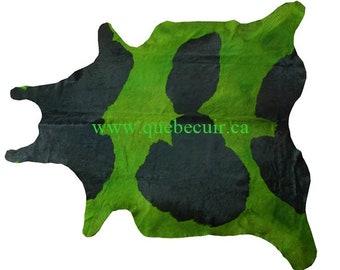 Genuine green and black cowhide rug.