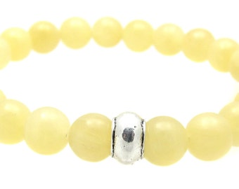 3rd Solar Plexus Chakra Calcite Gemstone Beaded Bracelet, Chakra Balancing Energy Stone Bracelet Jewelry