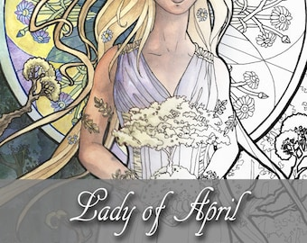 Printable Coloring Book Page for Adults - Lady of April with Daisy Flowers and Bonsai Art Nouveau Style Line Art