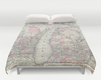 Antique Michigan Map Duvet Cover, Vintage Michigan Map Bedding, Old Map Bedspread, Decorative, Michigan Duvet case decor, Michigan Map Decor