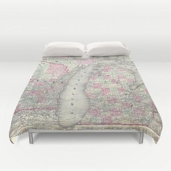 Antique Michigan Map Duvet Cover, Vintage Michigan Map Bedding, Old Map Bedspread, Decorative, Michigan Duvet case decor, Michigan Map Decor