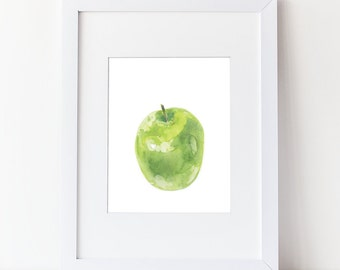 Green Apple Art Print- Watercolor Fruit Painting - Simple Watercolor Art - Various Sizes