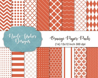 Orange Patterned Paper Pack -INSTANT DOWNLOAD