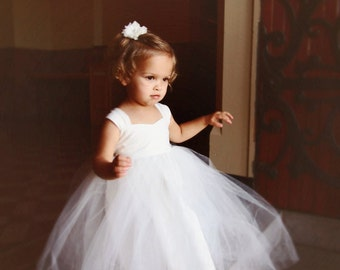 IVORY Flower Girl Dresses, Tulle Tutu Princess Baby Lace White Dress, Toddler Flower Girls Dress, Wedding Dress Baby Tulle Tutu, Flower Girl