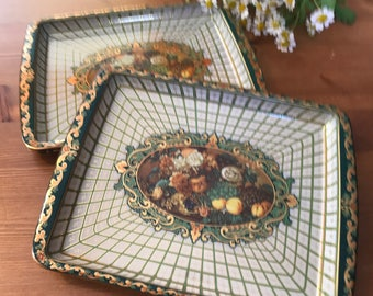 Green and gold still-life snack trays 1940s