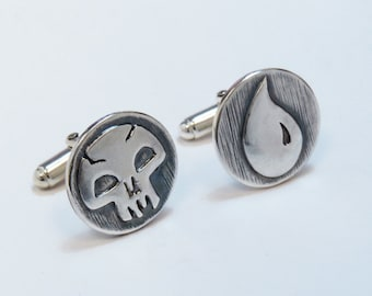 Magic The Gathering Inspired Cufflinks with Blue and Black Mana symbols