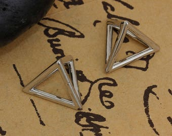 Charms 3 Triangle shaped 3D brass PressButton 1.4 cm / geometric