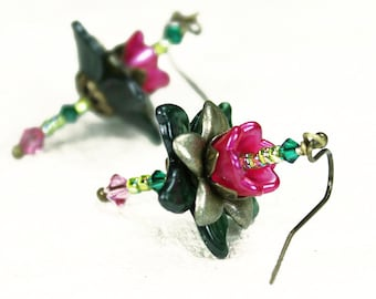 Hand Dyed Pink and Green Lucite Flower Earrings, Antiqued Brass, Swarovski Crystals, Seed Beads