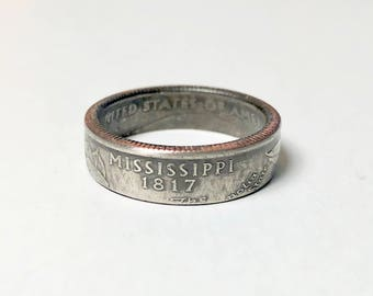Mississippi - Coin Ring - Coin Jewelry - Quarter Ring - Gift - State Wedding Ring - Husband - Wife - State Quarter Ring - Anniversary Gift