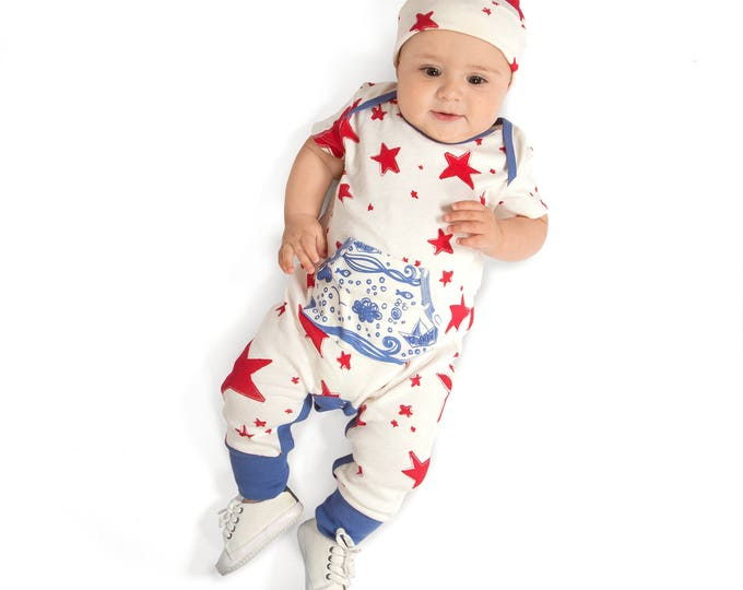 STAR SALE! Newborn Baby Coming Home Outfit, 4th July Summer Romper, Infant Baby Pocket Romper, Baby July 4 Red Stars Romper Tesa Babe