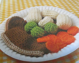 Handmade Knitted Roast Beef And Vegetables Novelty Gift, Part Of The Miniature Toys Collection (New, Made To Order) 5+