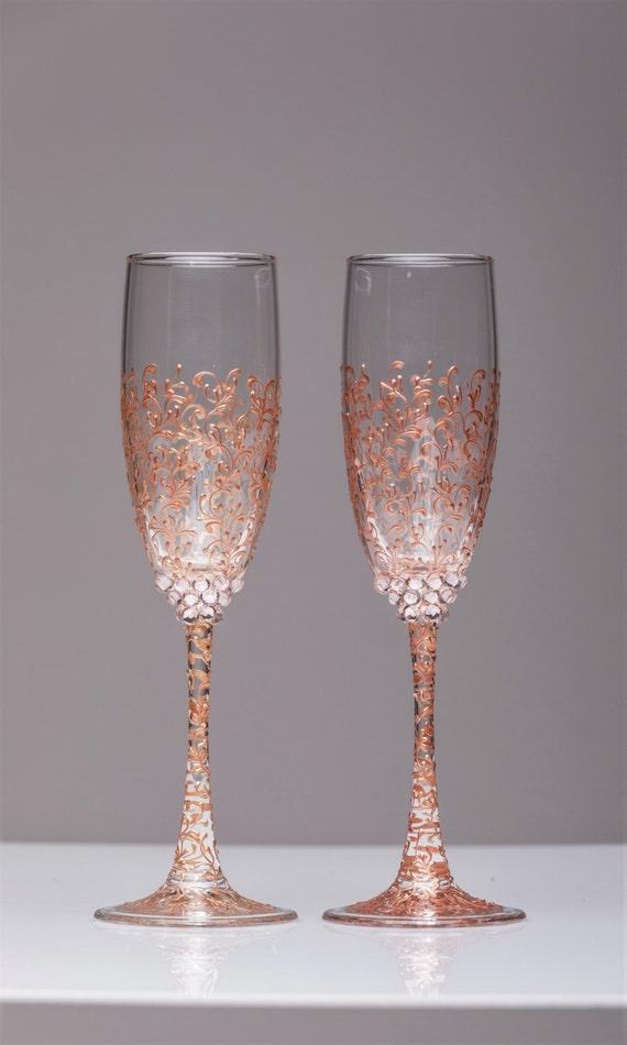 Personalisierte Hochzeit Gläser rose Gold personalisierte