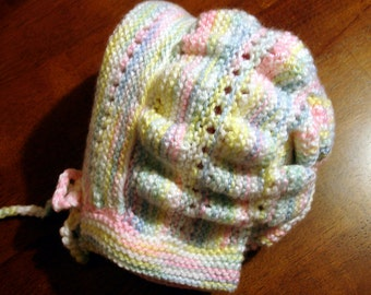 Knitted Children's Baby Prairie Pioneer Bonnet Hat  - 2 to 3 Year Old - Multi Pastels - Adorable!