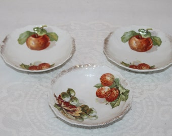 Three Piece Vintage Butter Pat dish set with Fruit Design and Scallop Edge Trim