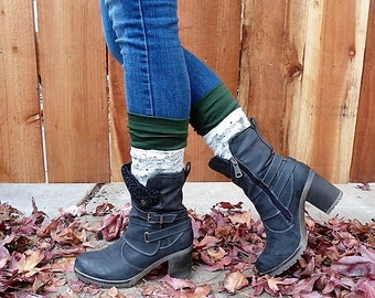 boot cuffs, lace and forest green boot cuffs, boot toppers, boot cuffs, Christmas gift, lace legwarmers, fall clothing, green boot socks