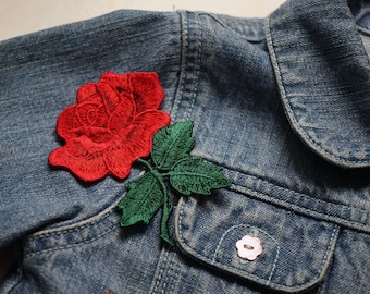 Red Rose Patch Patch applique for sew 9cm x 7 cm