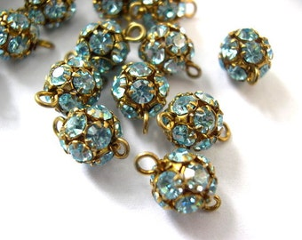 2 Vintage Swarovski connector ball BEADS crystal 8mm  light blue rhinestones in brass setting